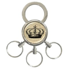 Vintage Music Sheet Crown Song 3-Ring Key Chains