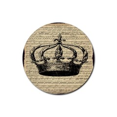 Vintage Music Sheet Crown Song Rubber Round Coaster (4 Pack)