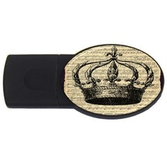 Vintage Music Sheet Crown Song USB Flash Drive Oval (1 GB)
