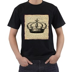 Vintage Music Sheet Crown Song Men s T Shirt (black) (two Sided)