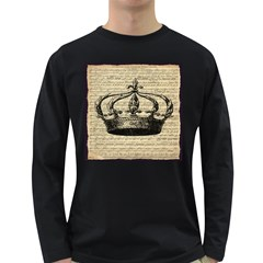 Vintage Music Sheet Crown Song Long Sleeve Dark T-Shirts