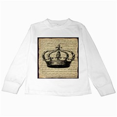 Vintage Music Sheet Crown Song Kids Long Sleeve T Shirts