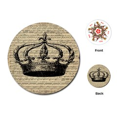Vintage Music Sheet Crown Song Playing Cards (Round)