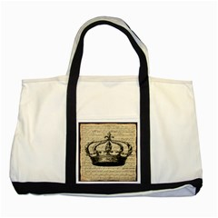 Vintage Music Sheet Crown Song Two Tone Tote Bag
