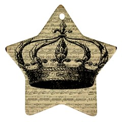 Vintage Music Sheet Crown Song Star Ornament (two Sides)