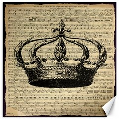 Vintage Music Sheet Crown Song Canvas 12  x 12