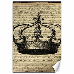 Vintage Music Sheet Crown Song Canvas 12  X 18