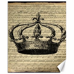Vintage Music Sheet Crown Song Canvas 16  x 20