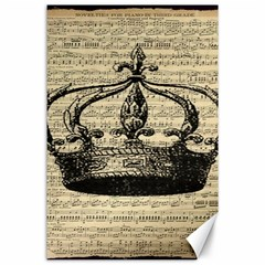 Vintage Music Sheet Crown Song Canvas 24  x 36