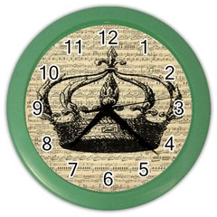 Vintage Music Sheet Crown Song Color Wall Clocks