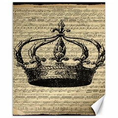 Vintage Music Sheet Crown Song Canvas 11  x 14