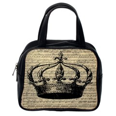 Vintage Music Sheet Crown Song Classic Handbags (one Side)