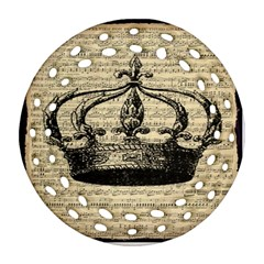 Vintage Music Sheet Crown Song Ornament (Round Filigree)