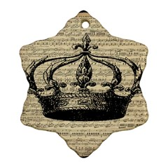 Vintage Music Sheet Crown Song Ornament (Snowflake)