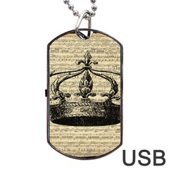 Vintage Music Sheet Crown Song Dog Tag USB Flash (Two Sides)