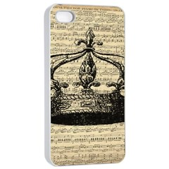 Vintage Music Sheet Crown Song Apple iPhone 4/4s Seamless Case (White)
