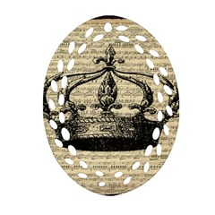 Vintage Music Sheet Crown Song Oval Filigree Ornament (two Sides)