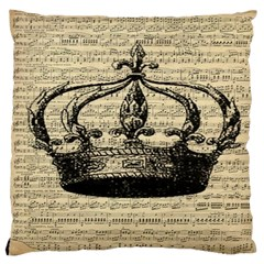 Vintage Music Sheet Crown Song Large Cushion Case (One Side)