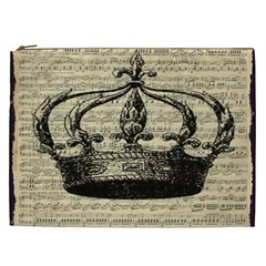 Vintage Music Sheet Crown Song Cosmetic Bag (xxl)