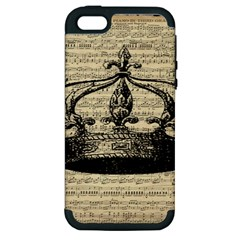 Vintage Music Sheet Crown Song Apple iPhone 5 Hardshell Case (PC+Silicone)