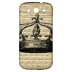 Vintage Music Sheet Crown Song Samsung Galaxy S3 S Iii Classic Hardshell Back Case