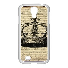Vintage Music Sheet Crown Song Samsung Galaxy S4 I9500/ I9505 Case (white)
