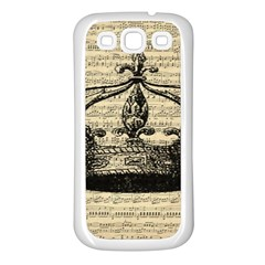 Vintage Music Sheet Crown Song Samsung Galaxy S3 Back Case (white)