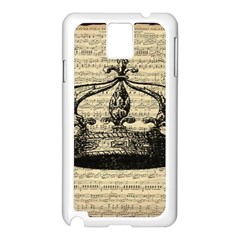 Vintage Music Sheet Crown Song Samsung Galaxy Note 3 N9005 Case (white)