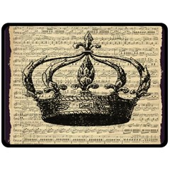 Vintage Music Sheet Crown Song Double Sided Fleece Blanket (large)