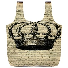 Vintage Music Sheet Crown Song Full Print Recycle Bags (l)
