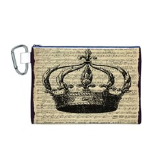 Vintage Music Sheet Crown Song Canvas Cosmetic Bag (m)