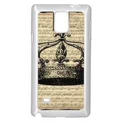 Vintage Music Sheet Crown Song Samsung Galaxy Note 4 Case (White)