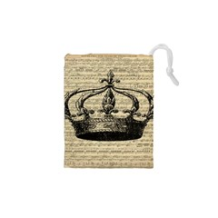 Vintage Music Sheet Crown Song Drawstring Pouches (XS)