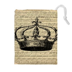 Vintage Music Sheet Crown Song Drawstring Pouches (Extra Large)