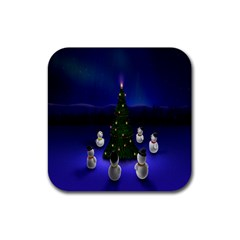 Waiting For The Xmas Christmas Rubber Square Coaster (4 pack)