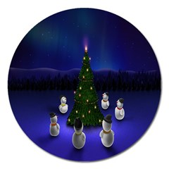 Waiting For The Xmas Christmas Magnet 5  (round)