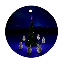 Waiting For The Xmas Christmas Round Ornament (two Sides)