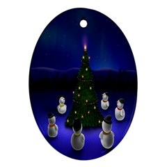 Waiting For The Xmas Christmas Oval Ornament (Two Sides)