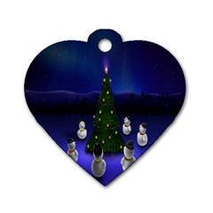 Waiting For The Xmas Christmas Dog Tag Heart (Two Sides)