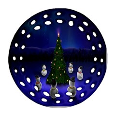 Waiting For The Xmas Christmas Round Filigree Ornament (Two Sides)