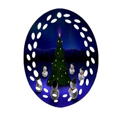 Waiting For The Xmas Christmas Ornament (oval Filigree)