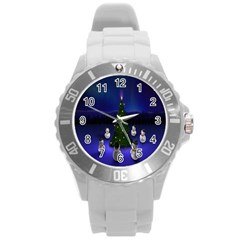 Waiting For The Xmas Christmas Round Plastic Sport Watch (l)