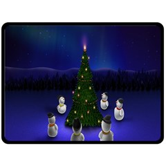 Waiting For The Xmas Christmas Double Sided Fleece Blanket (large)