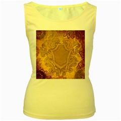 Vintage Scrapbook Old Ancient Women s Yellow Tank Top