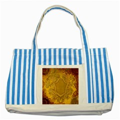 Vintage Scrapbook Old Ancient Striped Blue Tote Bag