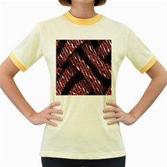 Weave And Knit Pattern Seamless Women s Fitted Ringer T Shirts
