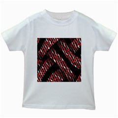 Weave And Knit Pattern Seamless Kids White T-Shirts