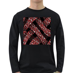 Weave And Knit Pattern Seamless Long Sleeve Dark T-Shirts