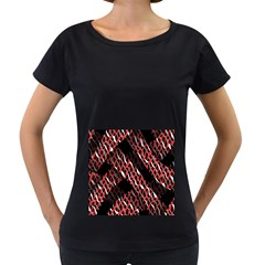 Weave And Knit Pattern Seamless Women s Loose Fit T Shirt (black)