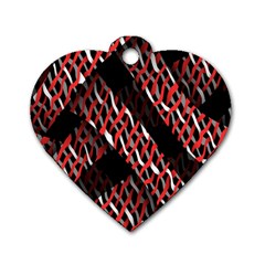 Weave And Knit Pattern Seamless Dog Tag Heart (one Side)